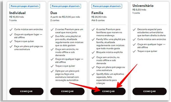 tela de planos do spotify, com setas vermelhas apontando para o botão começar da coluna Família, onde poderá fazer controle parental no spotify