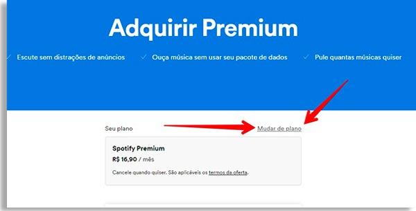 tela de planos do site do spotify com setas vermelhas apontando para botão mudar de plano
