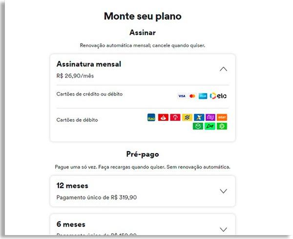 tela de pagamento do spotify