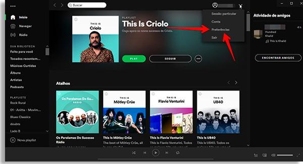 tela inicial do spotify com setas apontando para a opção preferências, onde poderá fazer controle parental no spotify