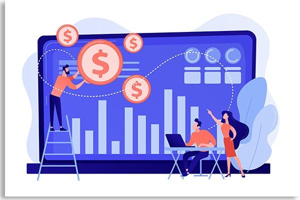 ilustração com pequenas pessoas de frente para um computador, pegando símbolos de dinheiro e gráficos na tela de fundo azul
