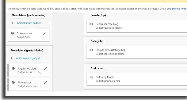 tela de layout do blogger