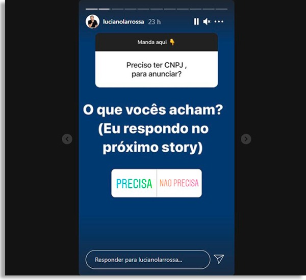 tela de stories com enquetes de instagram do luciano larrossa