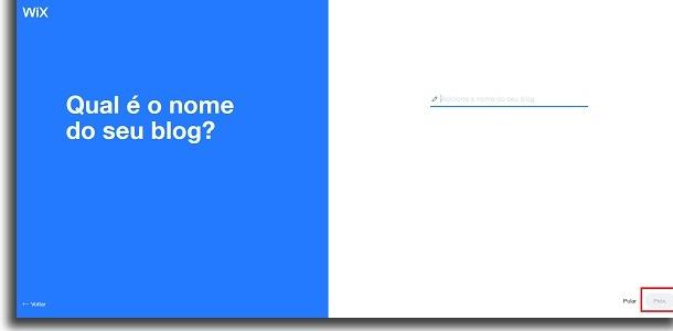 nome do site no wix