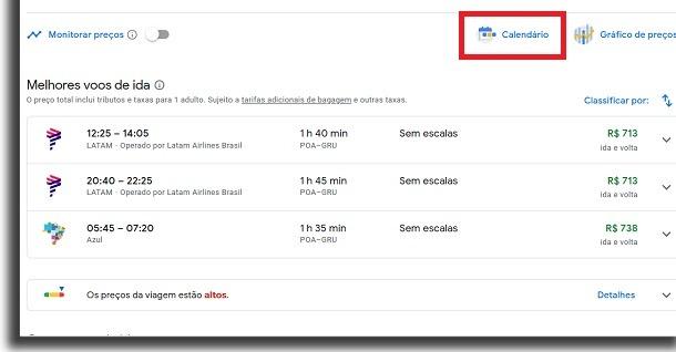 passagens aéreas no google voos calendário