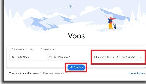 dias de viagens para passagens aéreas no google voos
