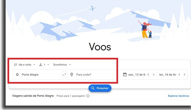 achar passagens aéreas no google voos