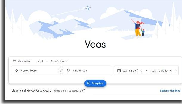 passagens no google