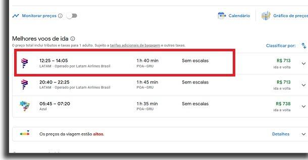 escolher voos no google