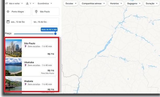 passagens aéreas no google voos opções