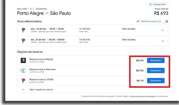 passagens aéreas no google voos selecionar preço