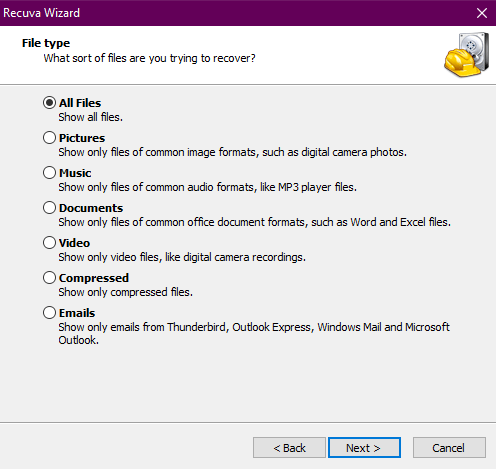 Recuva's first screen, where you select the type of deleted files to recover