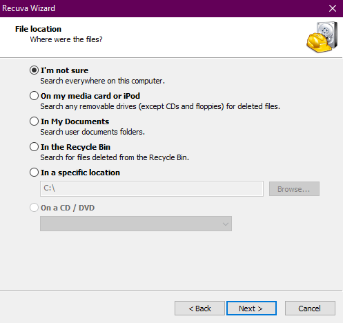 Recuvas second screen, where you choose where it will search for files to recover