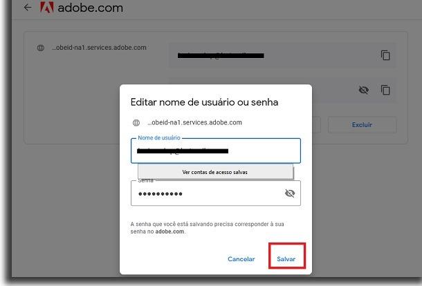 salvar no Gerenciador de senhas do Google