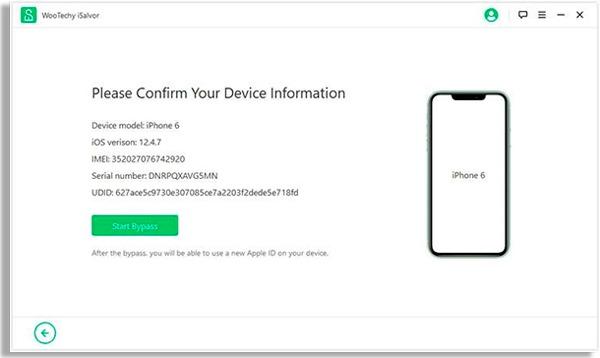 tela do programa com celular de tela branca à esquerda e pequena redação à direita, seguido de botão verde com dizeres start bypass