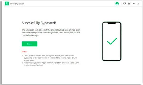 tela do programa mostrando celular com tique verde à direita e texto com botão verde com o dizer Done à direita. Clique no botão Done