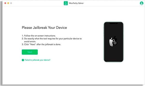 tela do wootechy isalvor com celular preto à direita e botão verde escrito next à esquerda