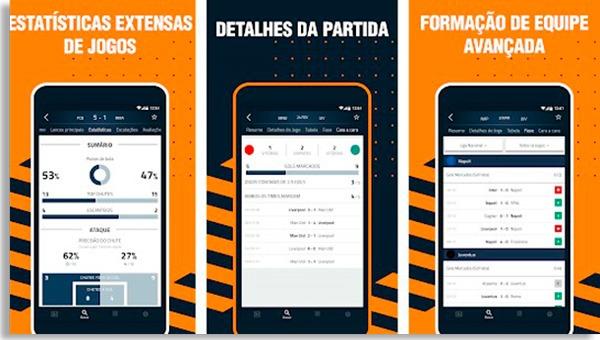 telas do goal live score, um dos mais baixados apps grátis para ver resultados de futebol