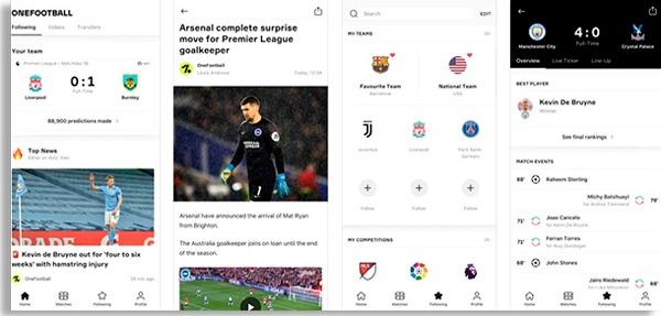 tela do onefootball, um dos apps grátis para ver resultados de futebol mais populares
