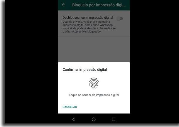 confirmar impressão digital no controle dos pais no whatsapp