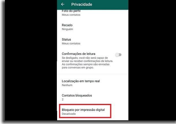 impressão digital no Whatsapp
