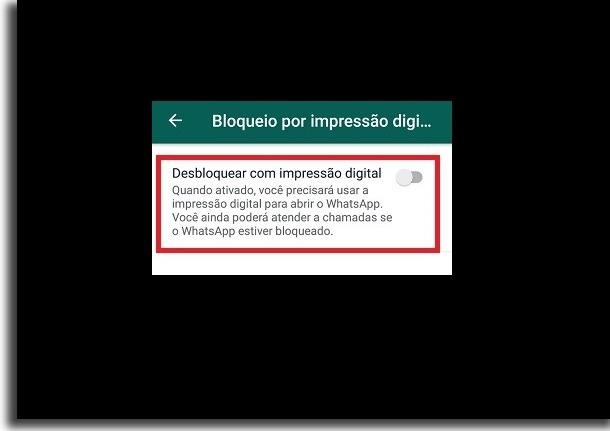 opção de privacidade por impressão digital
