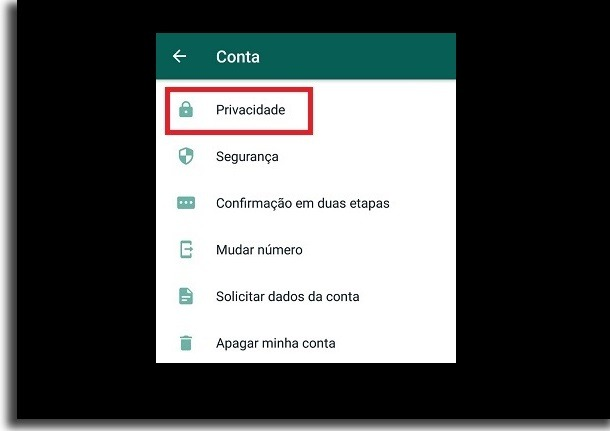 menu de configurações da conta no whatsapp
