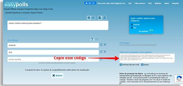 tela inicial do easypolls com seta vermelha indicando para copiar as enquetes que acabou de criar
