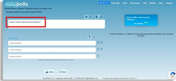 tela inicial do easypolls para criar enquetes online