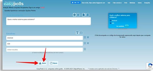tela inicial do easypolls com enquete criada e seta apontando para o botão de salvar