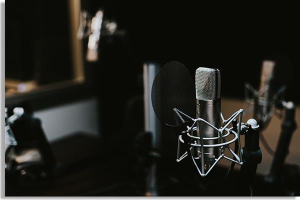 sala de gravação de áudio