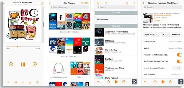telas do overcast, um app onde ouvir podcasts populares