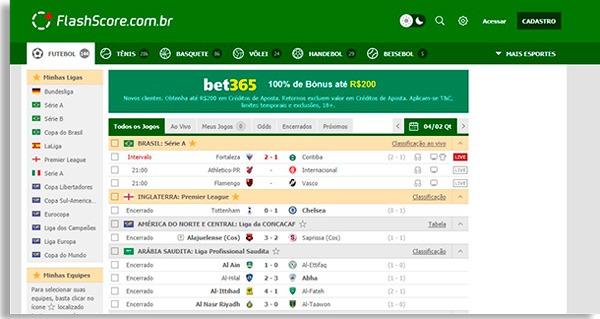 tela inicial do flashscore, um dos melhores sites grátis de resultados de futebol