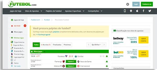 tela inicial do futebol.com
