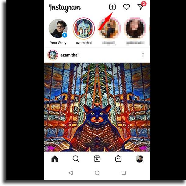 plus + button post GIFs to Instagram