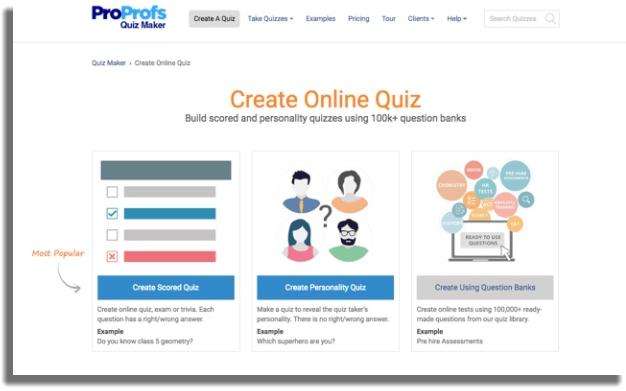 ProProfs crear encuestas en línea