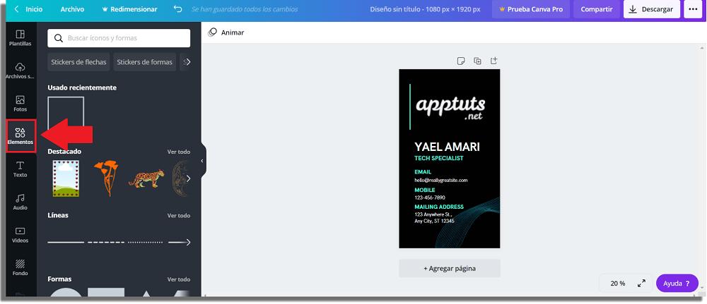 añadir elementos en tarjeta de presentación digital para WhatsApp
