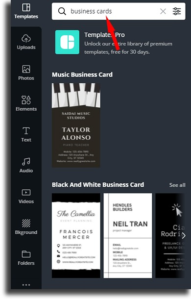 search bar WhatsApp business card