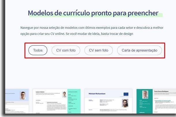 modelos de currículo