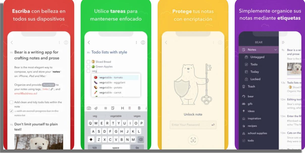 Bear apps para tomar notas en iPhone y iPad