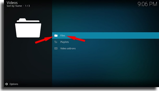 Files button use Kodi on Android