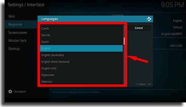 Select your preferred language use Kodi on Android