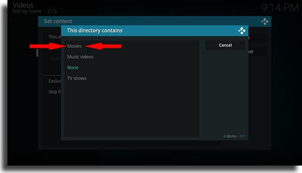 Select the type of media use Kodi on Android