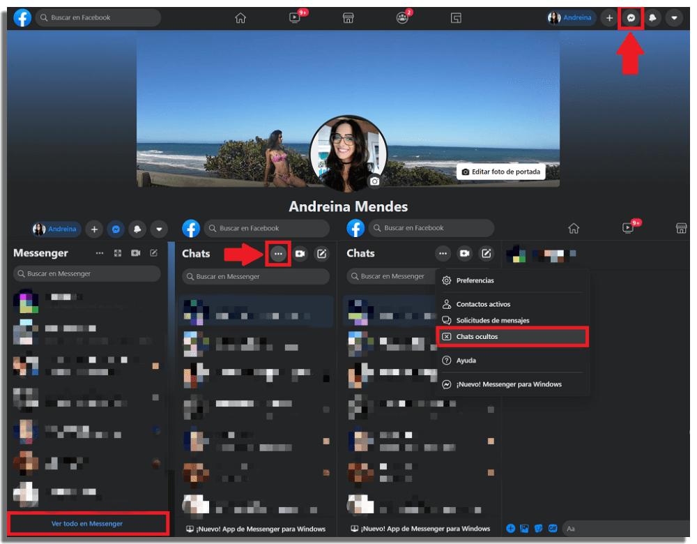 Recuperar mensajes borrados en Messenger