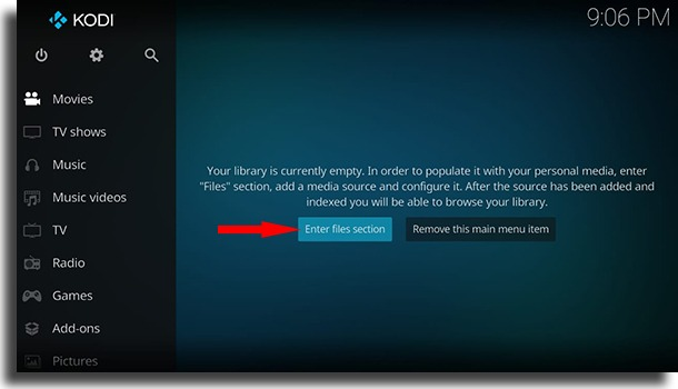 Enter files section use Kodi on Android