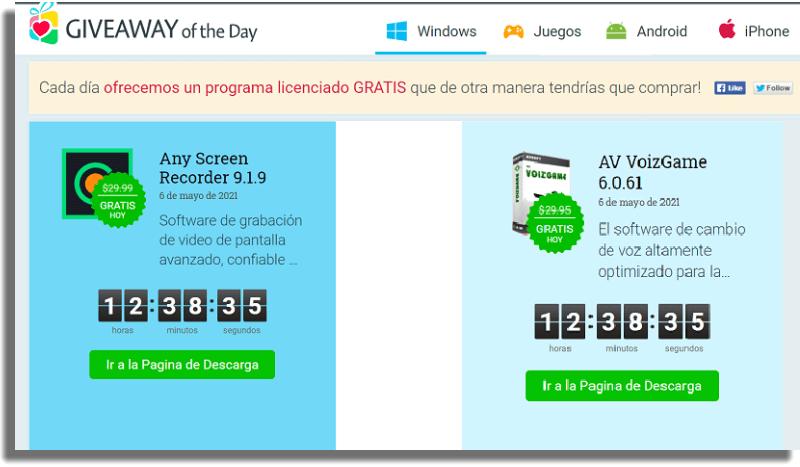 Giveaway of the Day descargar aplicaciones de pago gratis