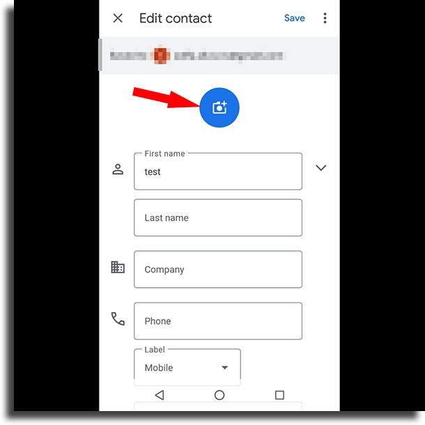 camera icon change contact pictures in Android