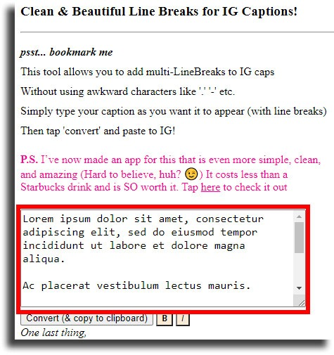 example text add line breaks on Instagram
