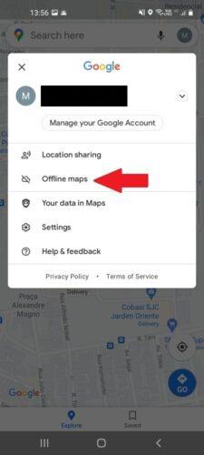 """Tap """"offline maps"""""""