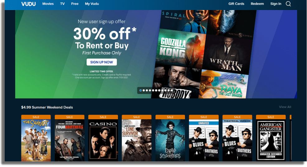 Vudu servicios de streaming de películas y series